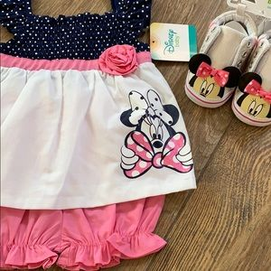 NWT Baby Girl Minnie Mouse Dress & shoes